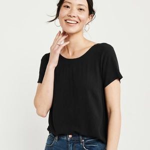 Abercrombie Women's Button Back Top, Black Top